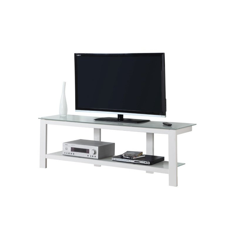"""Monarch Specialties 60""""L TV Stand in White Metal with Frosted Tempered Glass (I 2510)"""