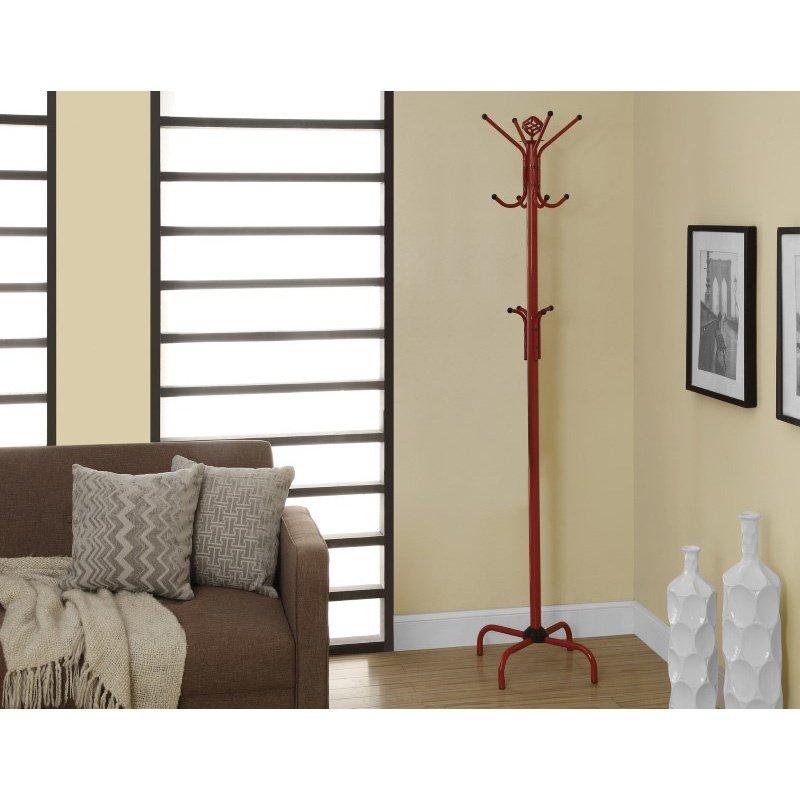 """Monarch Specialties 70""""H Coat Rack in Red Metal (I 2008)"""