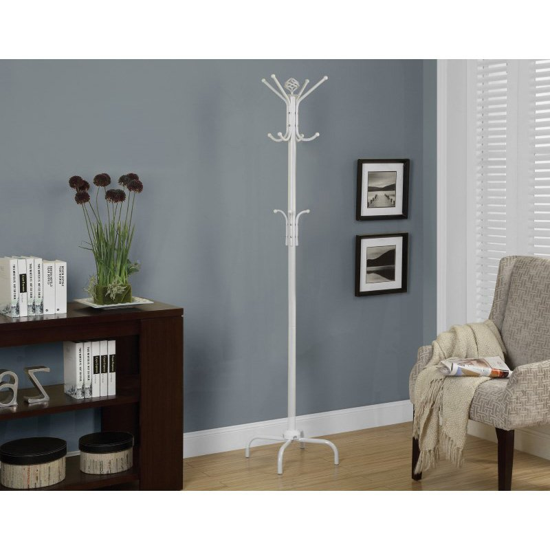 "Monarch Specialties 70""H Coat Rack in White Metal (I 2006)"