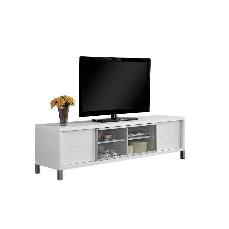 """Monarch Specialties 70""""L TV Stand in White Euro Style (I 2537)"""
