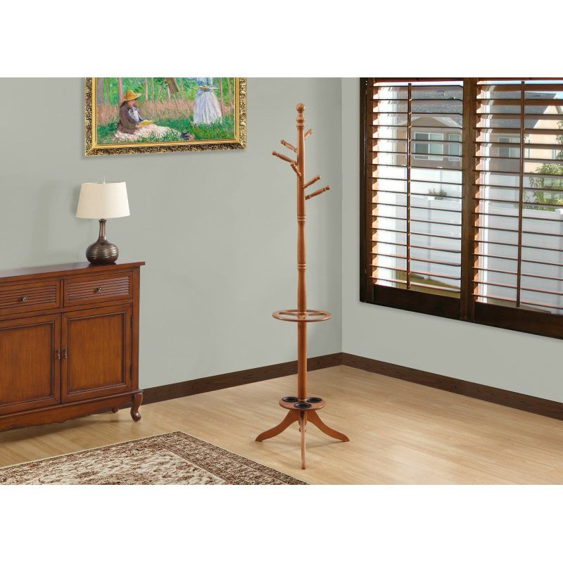 "Monarch Specialties 71""H Coat Rack in Oak with an Umbrella Holder (I 2023)"