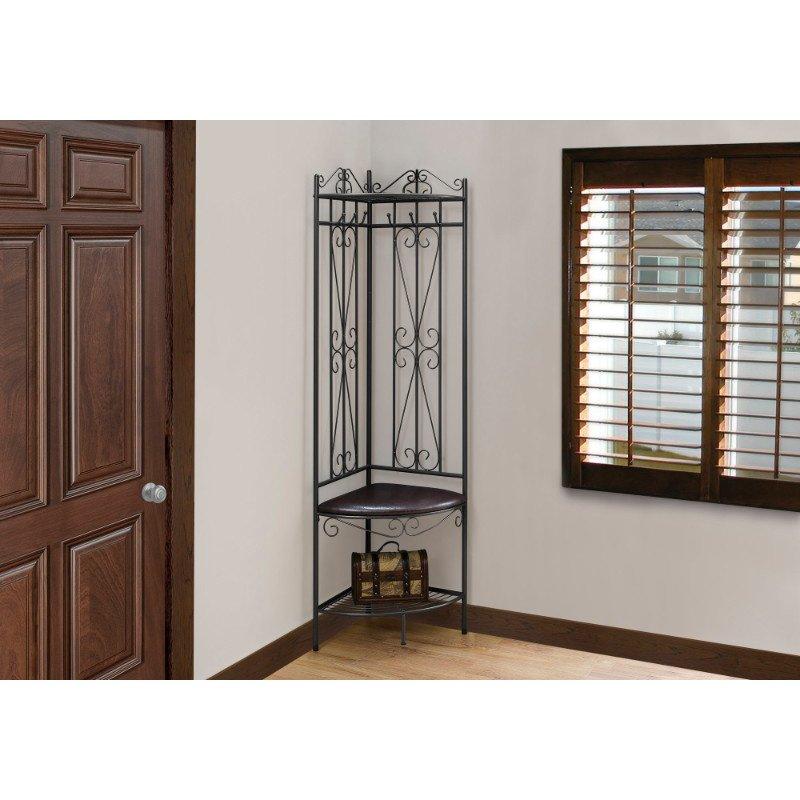 "Monarch Specialties 72""H Corner Hall Entry Bench in Copper Metal  (I 4548)"