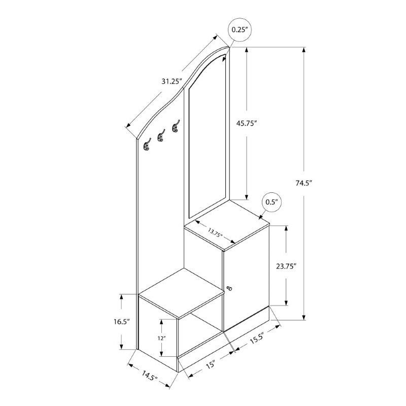 "Monarch Specialties 75""H Hall Tree in White Storage Unit / Mirror (I 2776)"