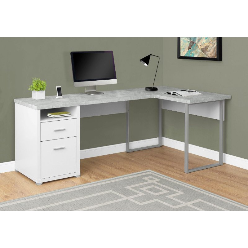 """Monarch Specialties 80""""L Computer Desk in White / Cement-Look Left/Right Face (I 7258)"""