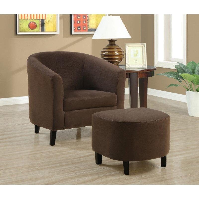 Monarch Specialties Accent Chair 2 Pieces Set in Chocolate Micro-Fibre Fabric (I 8056)