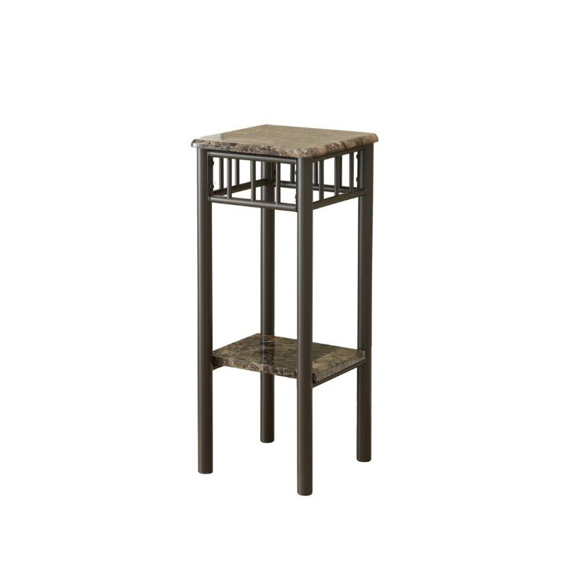 Monarch Specialties Accent Table in Cappuccino Marble and Bronze Metal (I 3044)