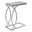 Monarch Specialties Accent Table in Grey Cement with Chrome Metal (I 3185)