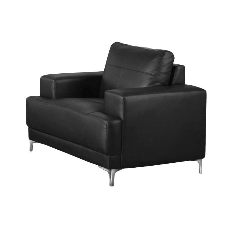 Monarch Specialties Bonded Leather Accent Chair in Black (I 8601BK)