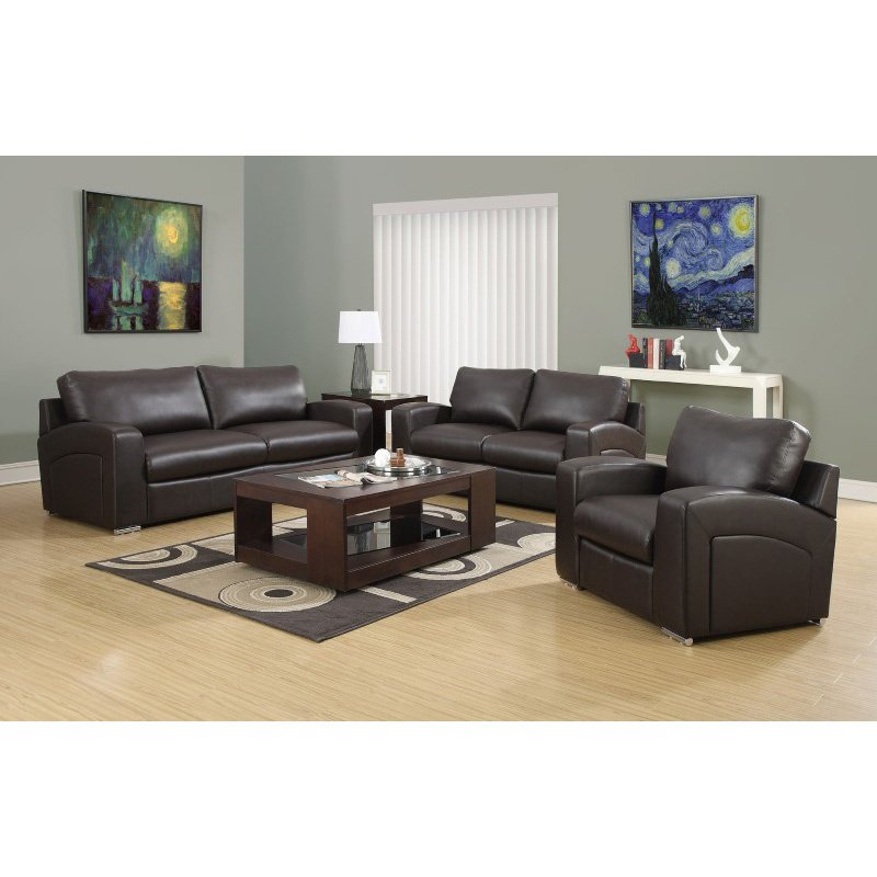 Monarch Specialties Bonded Leather Accent Chair in Dark Brown (I 8501BR)