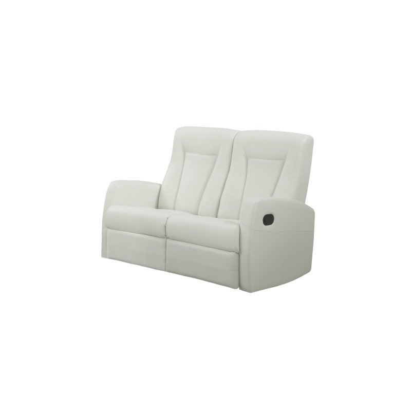 Monarch Specialties Bonded Leather Reclining Loveseat in Ivory (I 82IV-2)