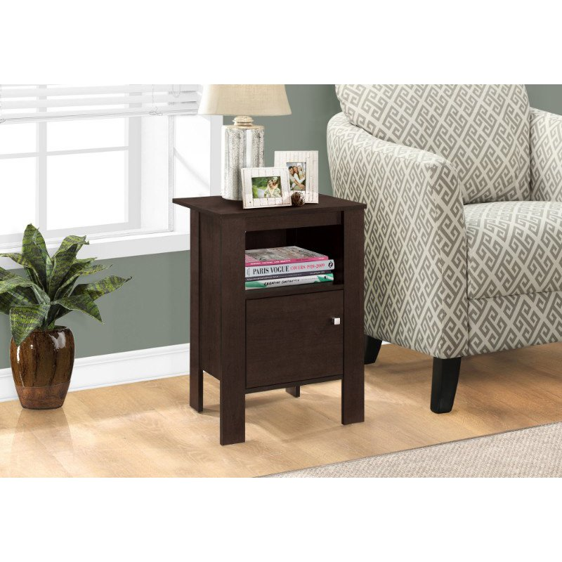Monarch Specialties Cappuccino Night Stand/Accent Table with Storage (I 2135)