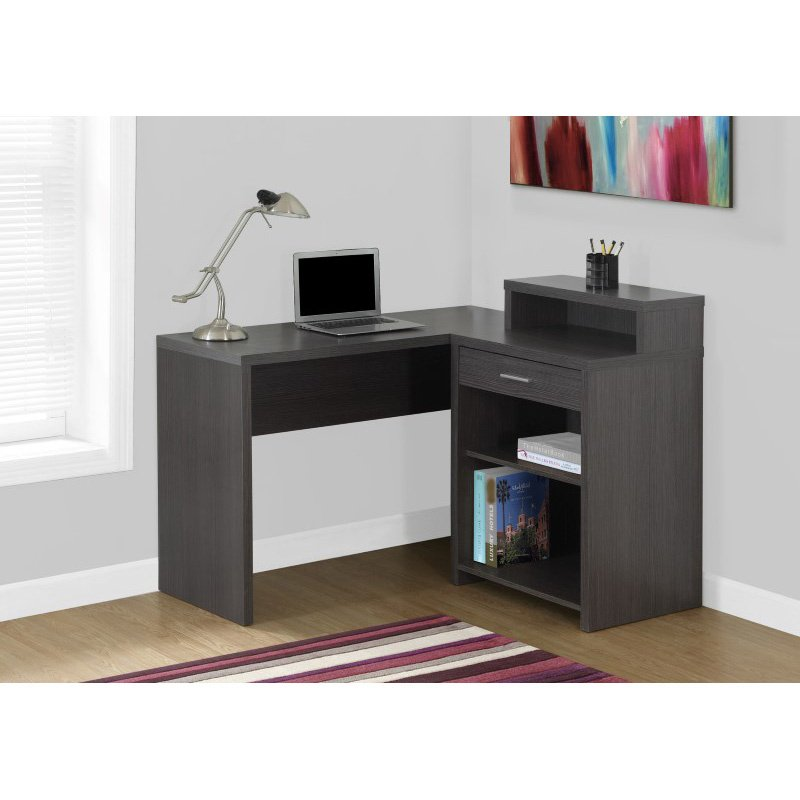 Monarch Specialties Computer Desk in Grey Corner with Storage (I 7126)