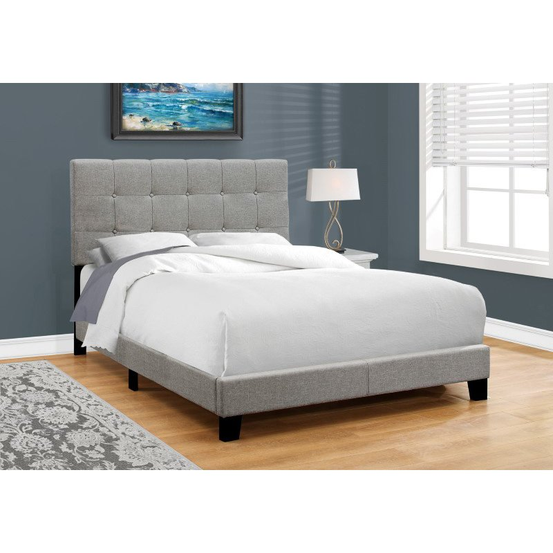 Monarch Specialties Full Size Grey Linen Bed (I 5920F)