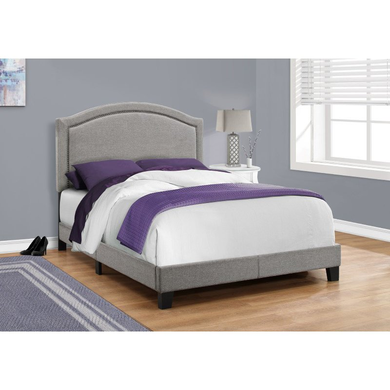 Monarch Specialties Full Size Grey Linen with Chrome Trim Bed (I 5936F)