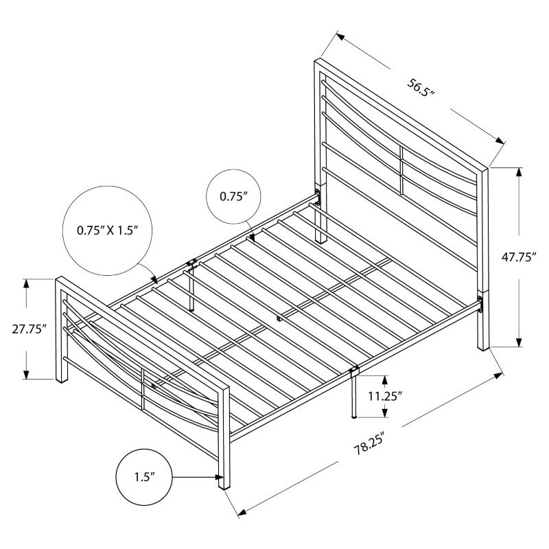 Monarch Specialties Full Size Silver Metal Frame only Bed (I 2642F)