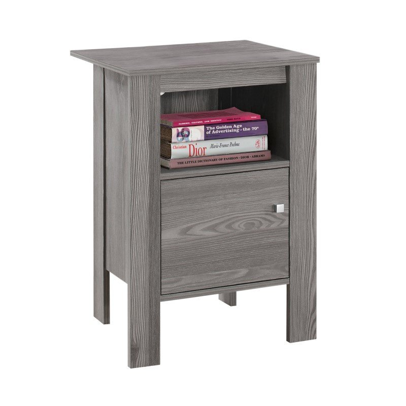 Monarch Specialties Grey Night Stand/Accent Table with Storage (I 2138)
