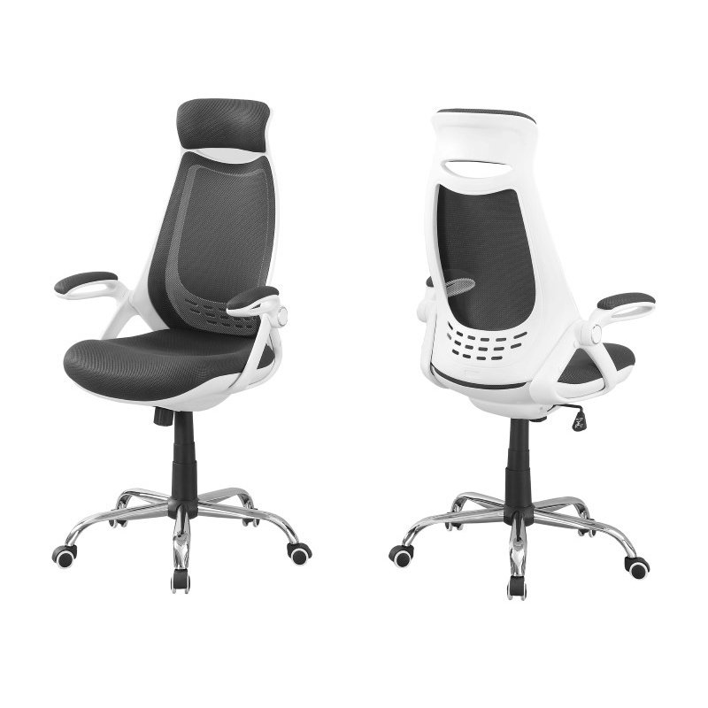 Monarch Specialties High-Back Exec Office Chair in White / Grey Mesh / Chrome (I 7269)