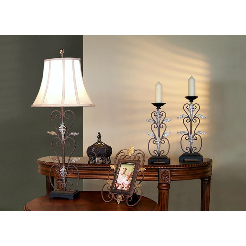 Monarch Specialties Lamp/Bowl/Frame/Candlesticks - 5 Pieces Gift Bo x in Steel (I 6792)