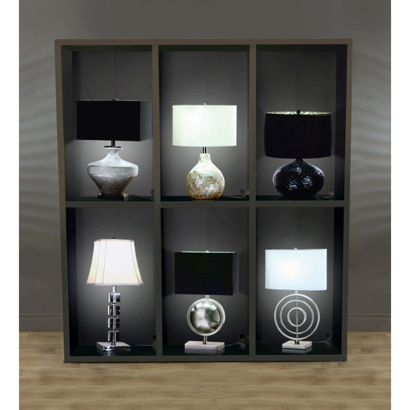 Monarch Specialties Lamp Power Bar Cappuccino In-Store Display Cabinet (I 6710)