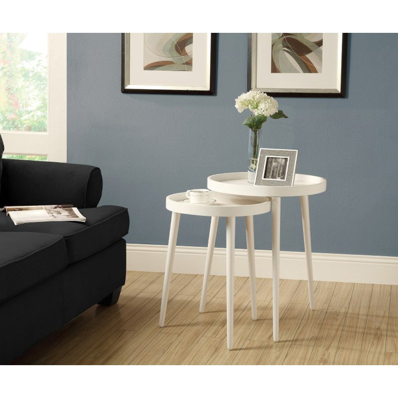 Monarch Specialties Nesting Table 2 Pieces Set in White (I 3081)