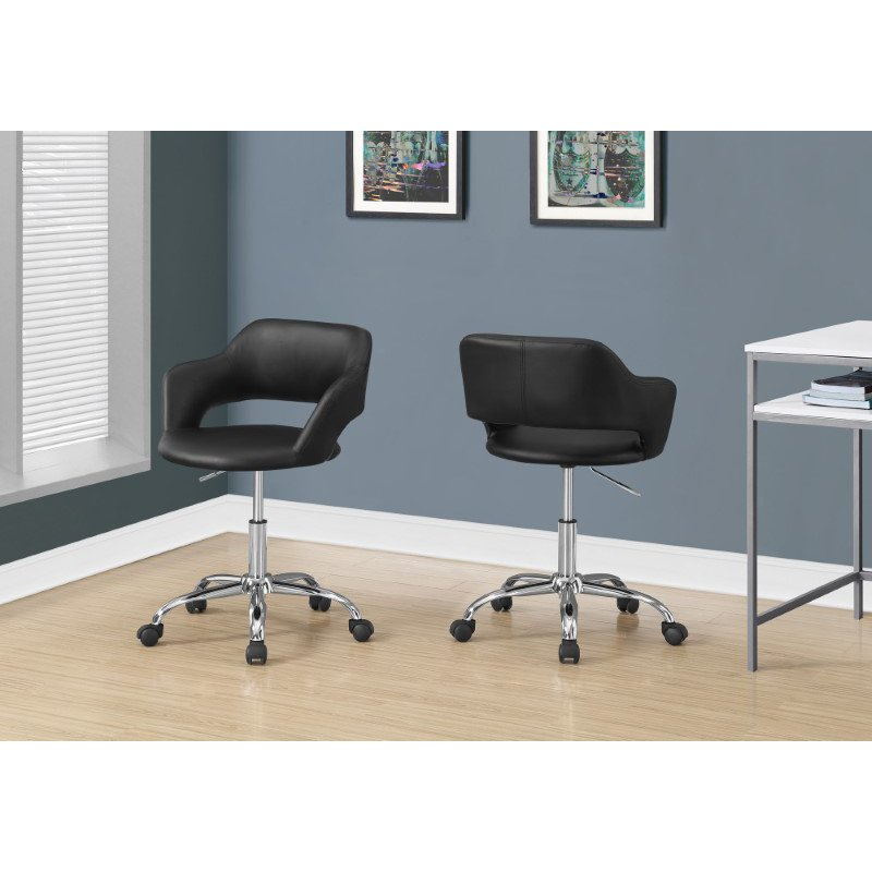 Monarch Specialties Office Chair in Black / Chrome Metal Hydraulic Lift Base (I 7298)
