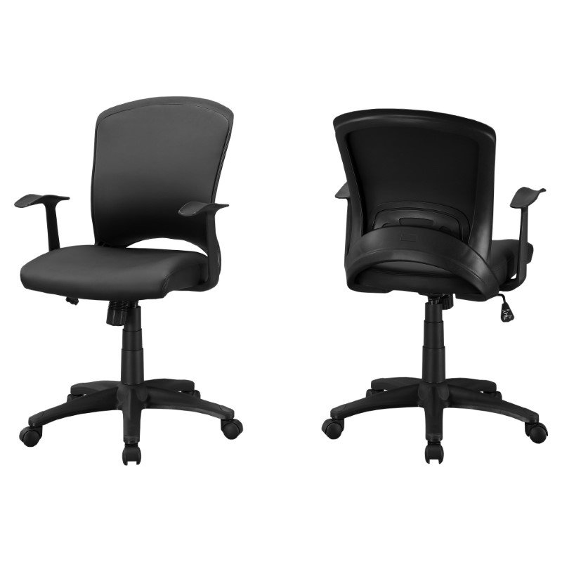 Monarch Specialties Office Chair in Black Leather-Look / Multi Position (I 7244)