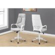 Monarch Specialties Office Chair in White / Grey Fabric / High Back Executive (I 7270)