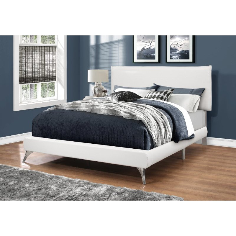 Monarch Specialties Queen Size Bed in White Leather-Look with Chrome Legs (I 5953Q)