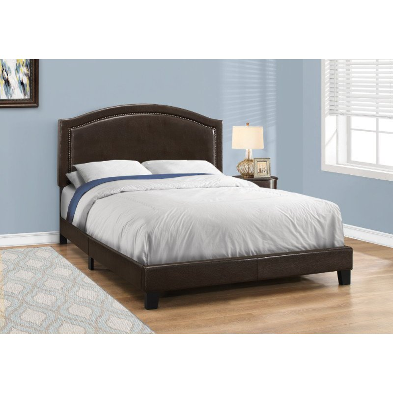 Monarch Specialties Queen Size Brown Leather-Look with Brass Trim Bed (I 5938Q)