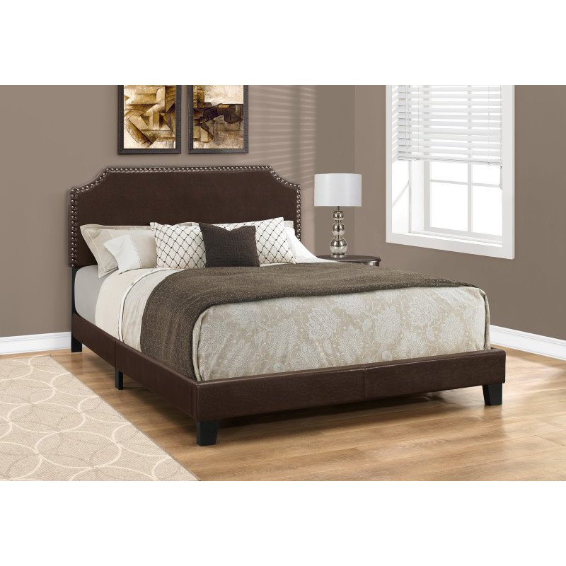 Monarch Specialties Queen Size Dark Brown Leather-Look with Brass Trim Bed (I 5927Q)