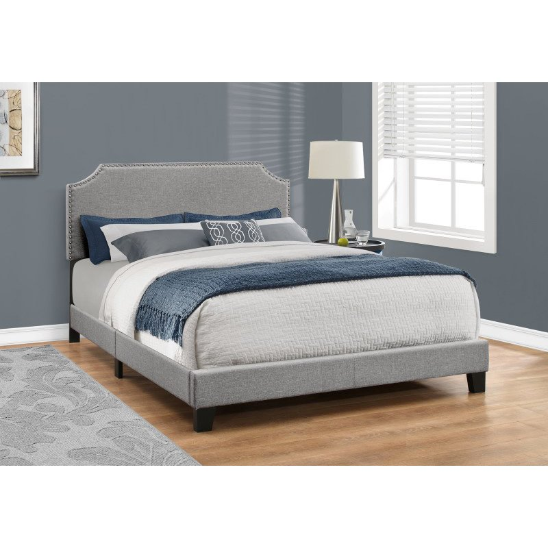 Monarch Specialties Queen Size Grey Linen with Chrome Trim Bed (I 5925Q)