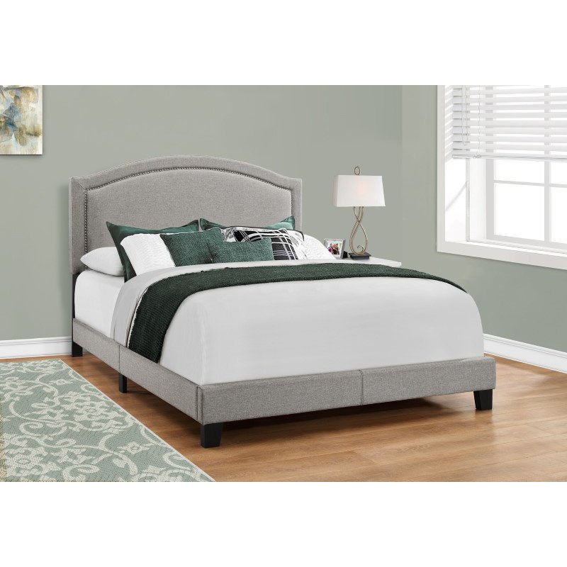 Monarch Specialties Queen Size Grey Linen with Chrome Trim Bed (I 5936Q)