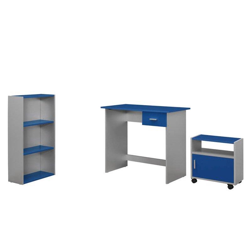 Monarch Specialties (Silver Desk/Bookcase/Cart) Computer Desk in Blue - 3 Pieces (I 7106)