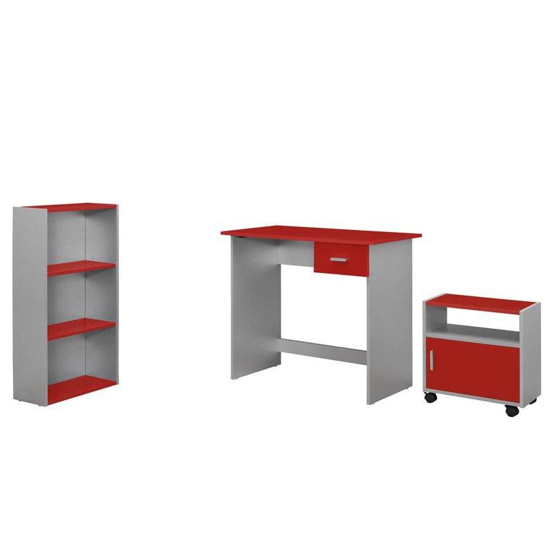 Monarch Specialties (Silver Desk/Bookcase/Cart) Computer Desk in Red - 3 Pieces (I 7105)