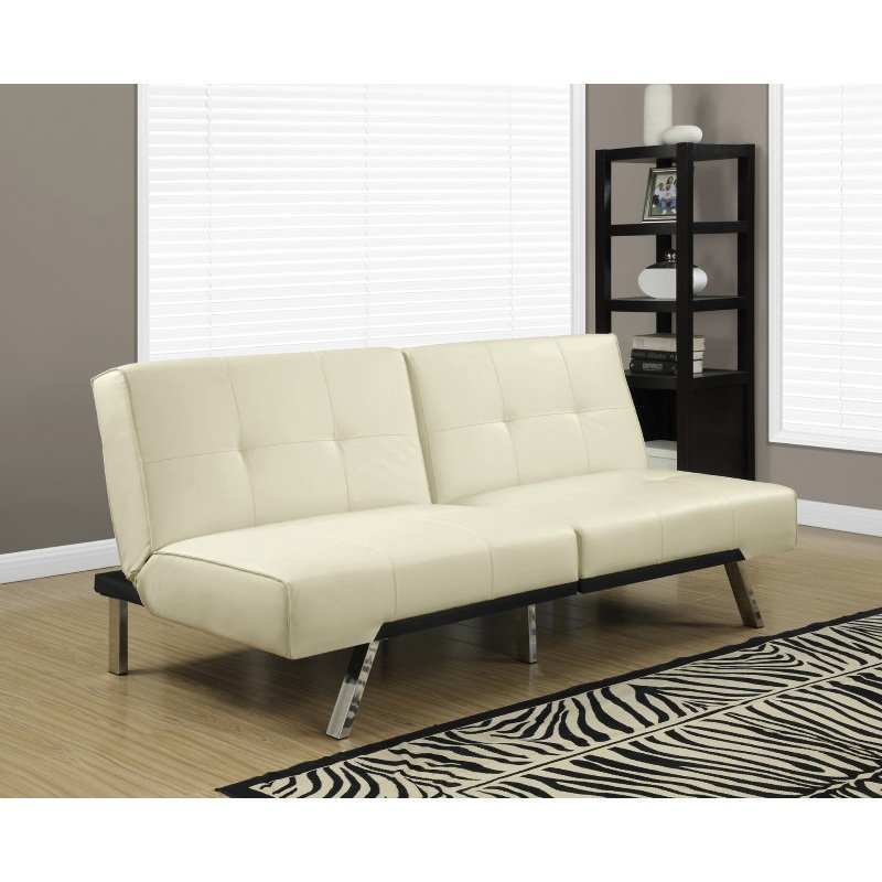 Monarch Specialties Split Back Click Clack Futon in Ivory Leather-Look (I 8938)