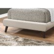 Monarch Specialties Twin Size Bed in Beige Linen with Brown Wood Legs (I 5981T)