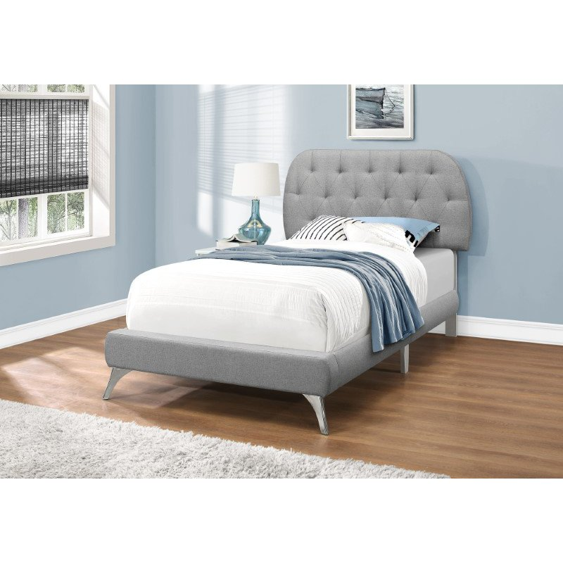 Monarch Specialties Twin Size Bed in Grey Linen with Chrome Legs (I 5980T)