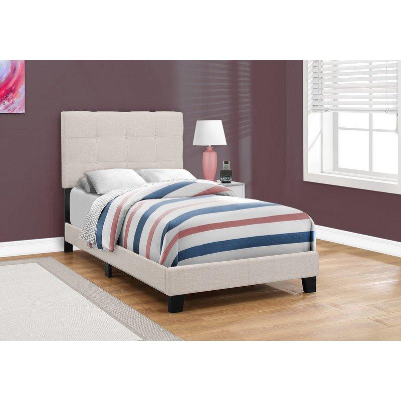 Monarch Specialties Twin Size Beige Linen Bed (I 5921T)