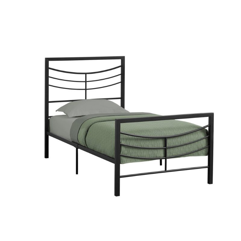 Monarch Specialties Twin Size Black Metal Frame only Bed (I 2641T)