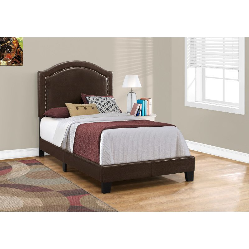 Monarch Specialties Twin Size Brown Leather-Look with Brass Trim Bed (I 5938T)