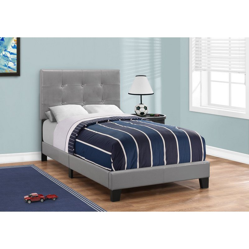 Monarch Specialties Twin Size Grey Leather-Look Bed (I 5923T)