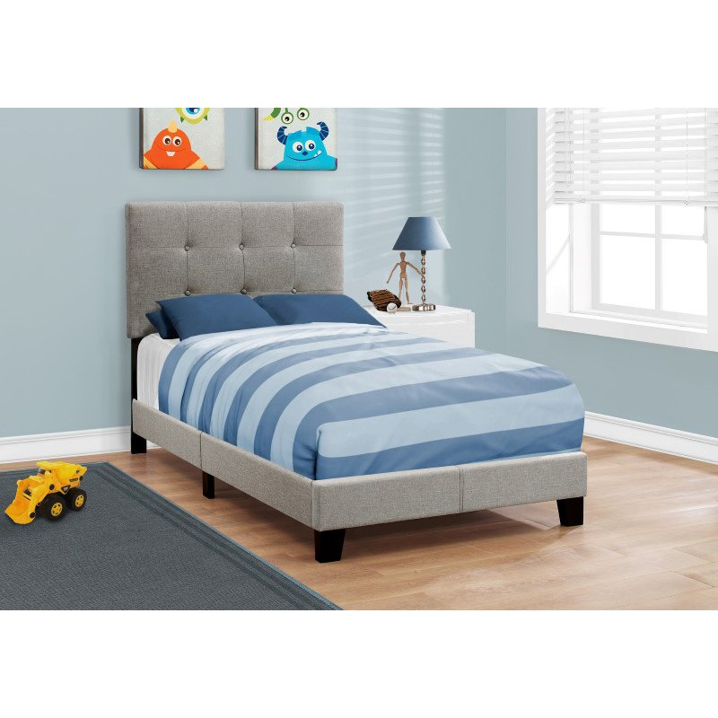 Monarch Specialties Twin Size Grey Linen Bed (I 5920T)