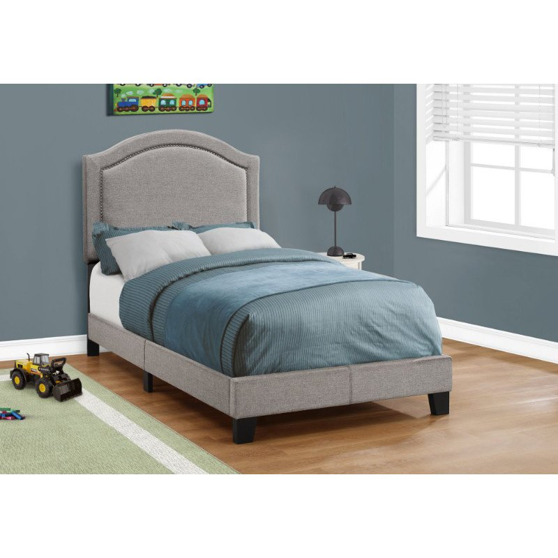 Monarch Specialties Twin Size Grey Linen with Chrome Trim Bed (I 5936T)