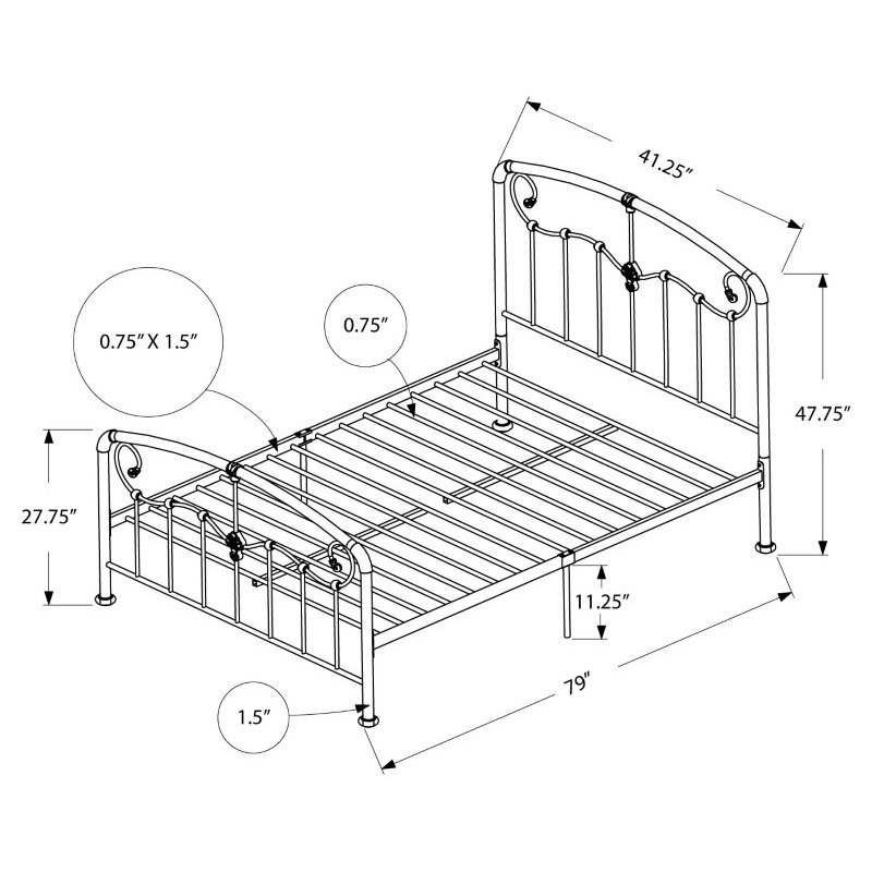 Monarch Specialties Twin Size Pink Metal Frame only Bed (I 2647T)