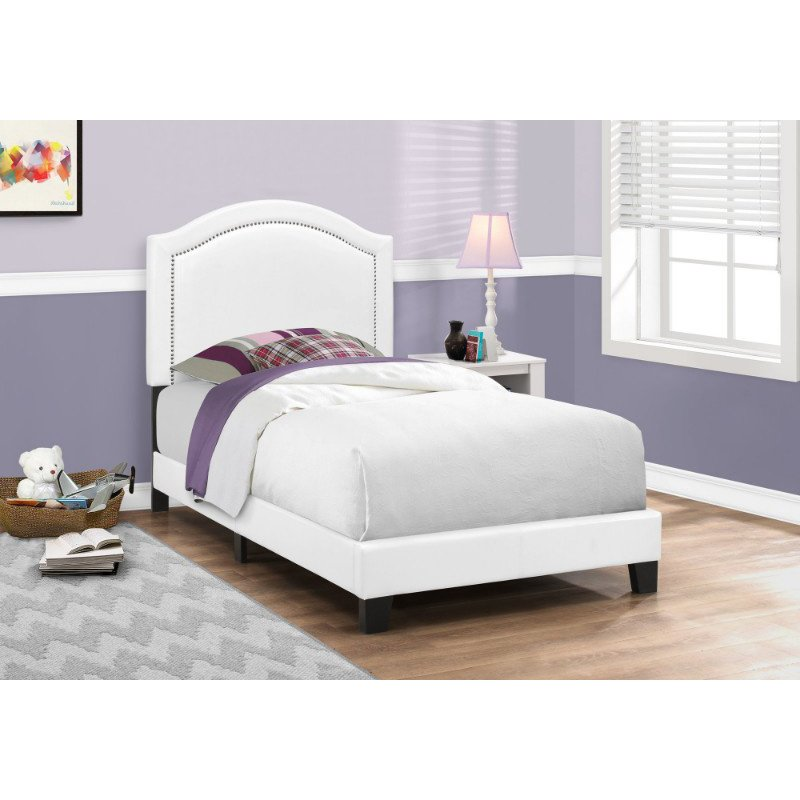 Monarch Specialties Twin Size White Leather-Look with Chrome Trim Bed (I 5939T)