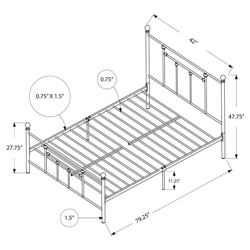 Monarch Specialties Twin Size White Metal Frame only Bed (I 2633T)