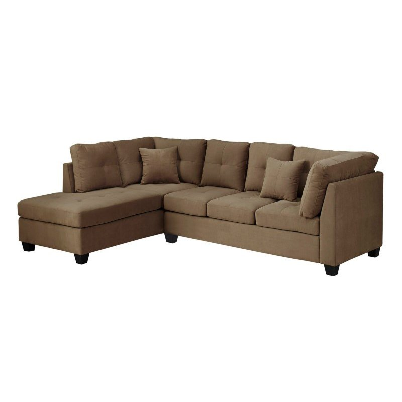 Monarch Specialties Ultra-Soft Sectional in Light Brown Velvet (I 8375LB)