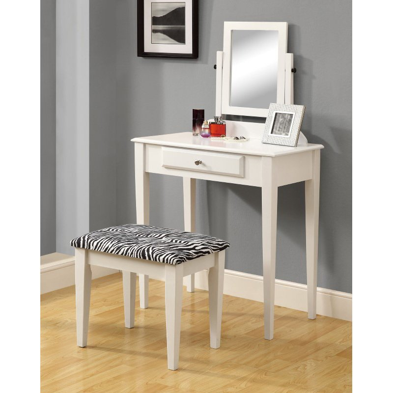 Monarch Specialties Vanity 2 Pieces Set in White with a Zebra Fabric Stool (I 3390)