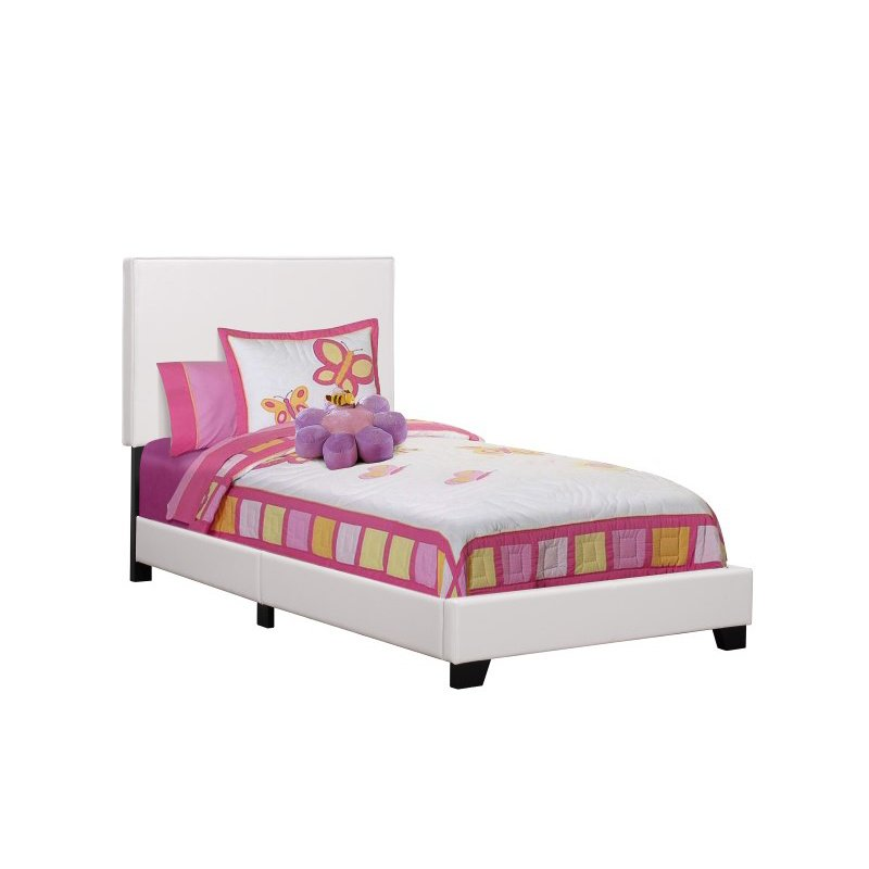 Monarch Twin Size Leather-Look Platform Bed in White