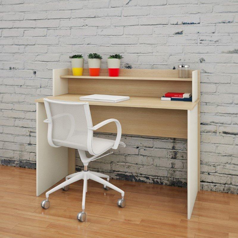 "Nexera 48"" Desk with Hutch in Natural Maple"